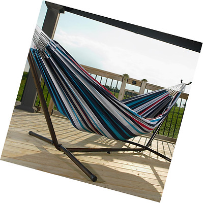 Double Denim Hammock with Stand Camping Travel Outdoor Lightweight Bed Hanging
