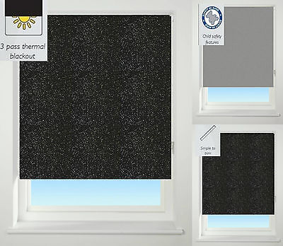 EASY FIT – Sparkle Texture Thermal BLACKOUT Trimmable,  Roller Blind / Blinds...