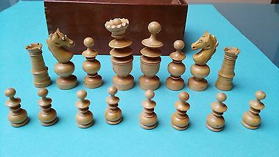 Rare Glass eyed monoblock knight chess set. Antique. Old. schach eches. King 8cm