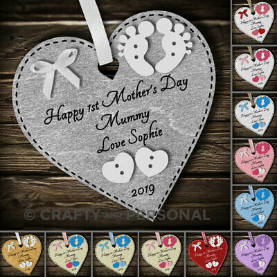 Personalised Happy 1st First Mothers Day gift heart plaque for Mummy Grandma