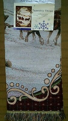 Vtg Holiday Traditions Tapestry Throw 100% Acrylic  Sleigh Ride 50 X 60 In.