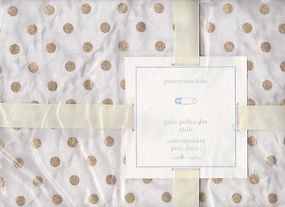 pottery barn kids gold polka dot toddler quilt,nursery crib,glitter,