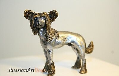 Chinese Crested statuette dog miniature pewter figurine tin