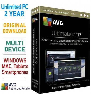 AVG ULTIMATE 2017 2 YEARS UNLIMITED DEVICES for PC Mac Android