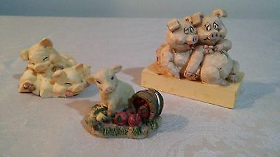 Lot of 3, Small Resin  Pigs Figurines