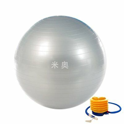 65CM Anti-Burst Gym Exercise Yoga Fitness Ball Pregnancy Birthing Silver & Pump