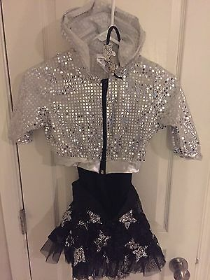 Dance Costume Sequin Jacket, Skirt with leotard and Headband Child Medium