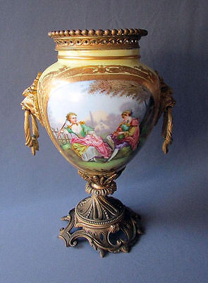 ANTIQUE 19th Century SEVRES STYLE Ormolu Mounted HAND PAINTED URN Oil Lamp Base