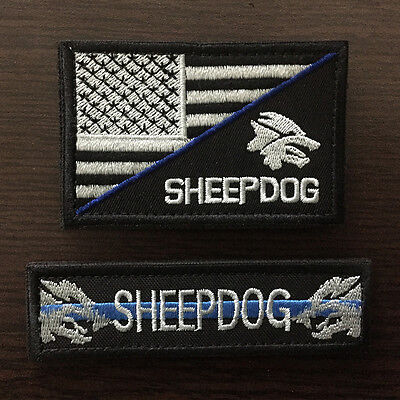 2PCS MILITARY ARMY Tactical Morale Badge Subdued Patch US American Flag  Sheepdog