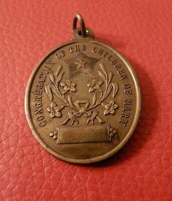 Vintage Bronze Religious Medal/Pendant 'Congregation of The Children of Mary'