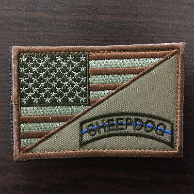"""3""""*2"""" SHEEPDOG USA Flag Military Tactical Morale Thin Blue Line Police Cap Patch"""