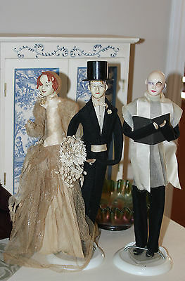 Vintage fashion dolls bridal wedding decor Flapper 1920's style groom minister