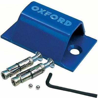 Oxford Brute Force Motorcycle Ground Anchor Motorbike Wall Security Blue New