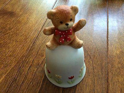 Lot of Enesco Lucy & Me bear figurines,bear on a bell,flowers, bell ringing 5'