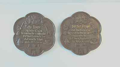 Lot of 2 Brown CHALKWARE PLAQUES Wall hanging kitchen prayer scalloped edge