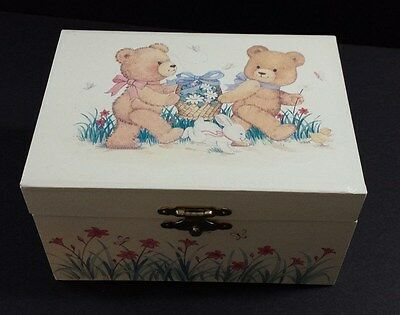VINTAGE MUSICAL JEWELRY BOX with Bears and Butterflies