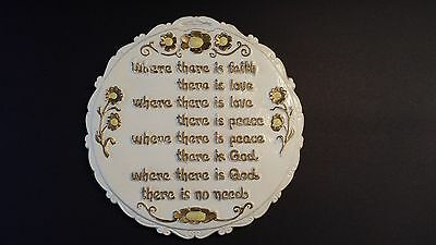 White CHALKWARE SIGN WALL HANGING Religious Saying Faith Peace Love