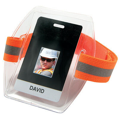 Ergodyne ID Badge Holder with Reflective Elastic Armband, Orange