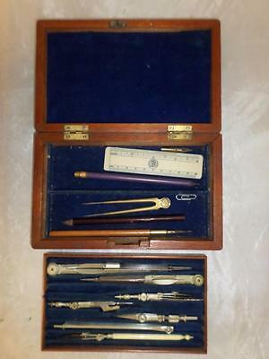 Antique Mathematical/ Engineers Drawing Instruments/ Compass Set - Wooden Case