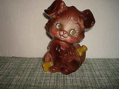 Vintage Brown Ceramic Puppy with Yellow Bow  Figural Coin Bank  Adorable!