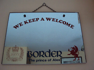 Border Breweries - Pub Mirror 1977 The Queens Silver Jubilee 16 X 11.5 Inches