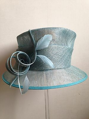 Ladies Wedding Occasion Hat Turquoise Blue