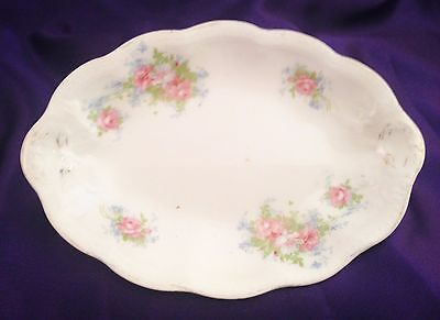"""ANTIQUE/VTG EDWIN M KNOWLES CHINA CO/SEMI-VITREOUS 8""""x6"""" SERVING TRAY/ROSES/911"""