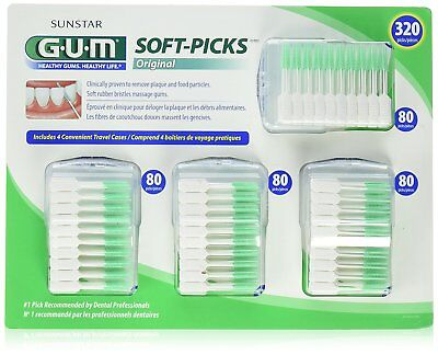 Sunstar GUM 320 Soft Picks Dental Implants Braces Bridges Crowns Floss 4/Cases