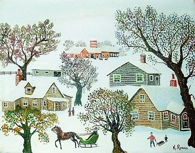 "Naive/Folk Art Painting ""Snow Flurries"" Original Oil by Konstantin Rodko- 1993"