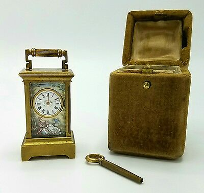 Antique 19Th Century French Enamel Subminiature Carriage Travel Clock