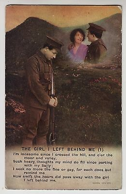"""POSTCARD - Bamforth Song Card """"The Girl I Left Behind Me (1)"""" soldier #4880/1"""