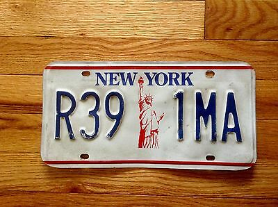 NEW YORK Old License Plate. White,blue And Red