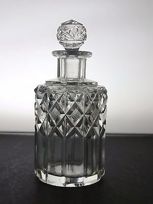 Antique Crystal Small Round Decanter With Stopper