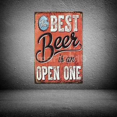 Vintage Metal Tin Sign Plaque THE BEST BEER IS AN OPEN ONE Poster Bar Decor
