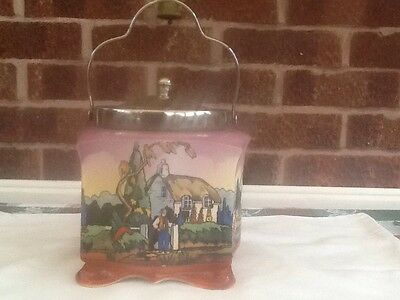 Antique Pottery Biscuit, Cookie Jar With Silver Plated Lid