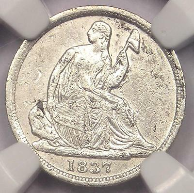 1837 Seated Liberty Half Dime H10C - Certified NGC AU Details - Rare Early Date!