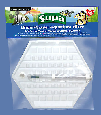"Large Hexagonal Under Gravel Filter for Hexagon Shaped Aquariums 17"" x 8.5"""