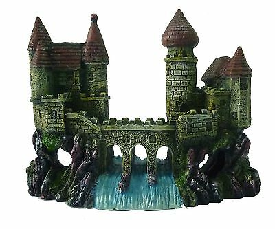 Castle with Bridge & Waterfall Aquarium Fish Cave Ornament Fish Tank Decoration