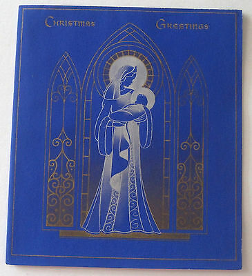 Used Vtg Christmas Card Silver & Blue Silhouette of Mary & Baby Jesus
