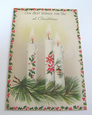 Used Vtg Christmas Card Glittery Pine & Candles w Holly, Lantern & Flowers