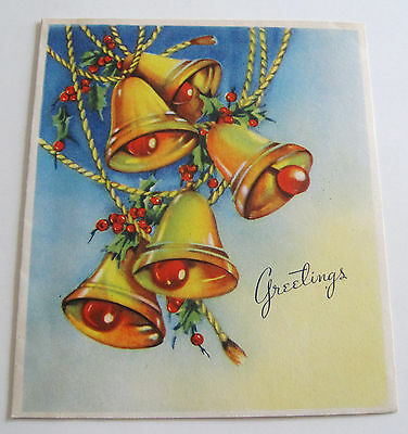 Used Vtg Christmas Card Pretty Christmas Bells with Holly & Berries