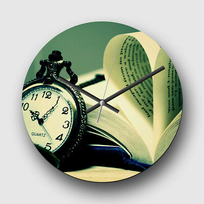 Large 32cm Quartz Wall Clock Non-Ticking Vintage Pocket Watch and Book