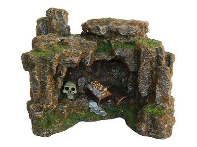 Rock Cave with Skull & Treasure Decoration Ornament for Aquarium Fish Tank