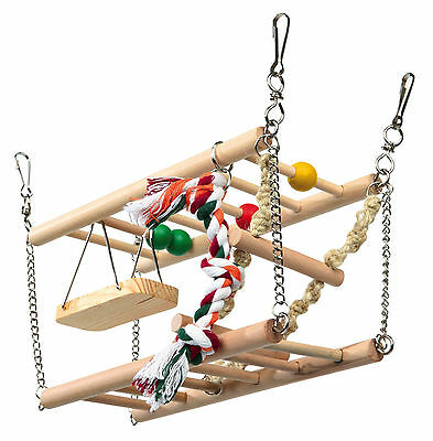 2 Story Suspension Climbing Exercise Toy with Ladder & Swing Hamster Mice Gerbil