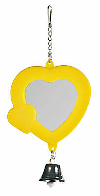 Heart Shaped Mirror with Bell Budgie Canary Pet Bird Mirror Toy Assorted Colours