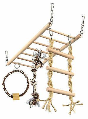 Large Suspension Bridge for Rats & Ferrets with Wooden Ladder Rope Ladder & Toy