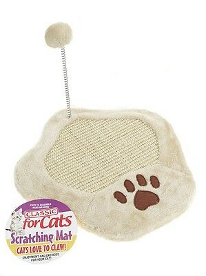 Cat Scratch Mat Cats Kittens Scratching Mat Post with Toy Pom Pom & Paw Print