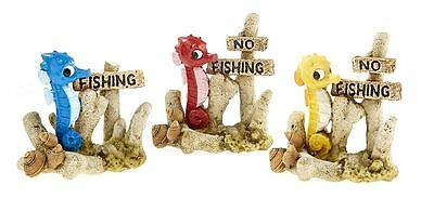 x1 No Fishing Sign Post with Seahorse Decoration Ornament for Aquarium Fish Tank
