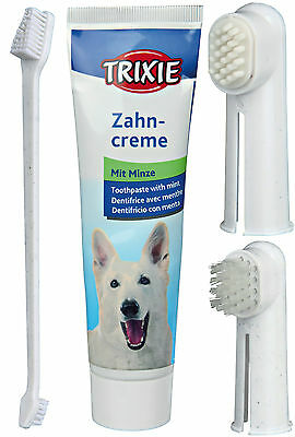 Dogs Dental Set with Toothbrush Mint Toothpaste & Finger Toothbrushes