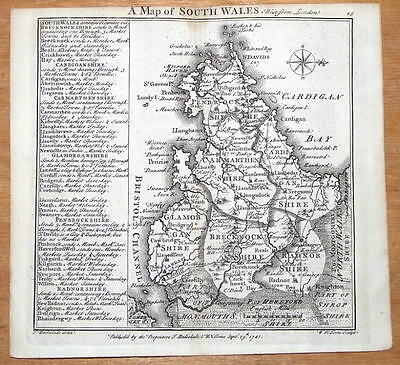 SOUTH WALES  BADESLADE & TOMS original miniature antique map 1741